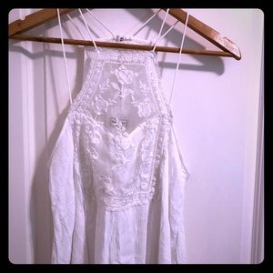 White lace swing tank top dressy classy small